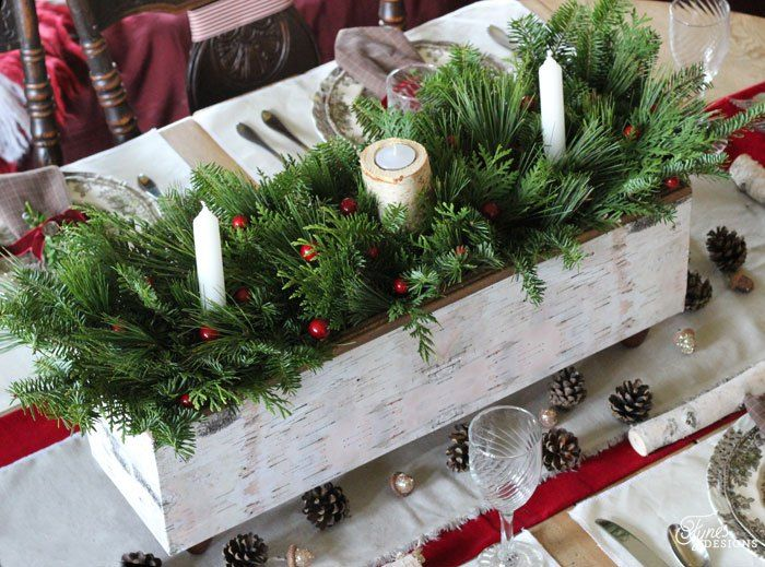 Christmas Table Centrepiece One Item Challenge Fynes Designs Diy Christmas Table Christmas Centerpieces Diy Christmas Table Centerpieces