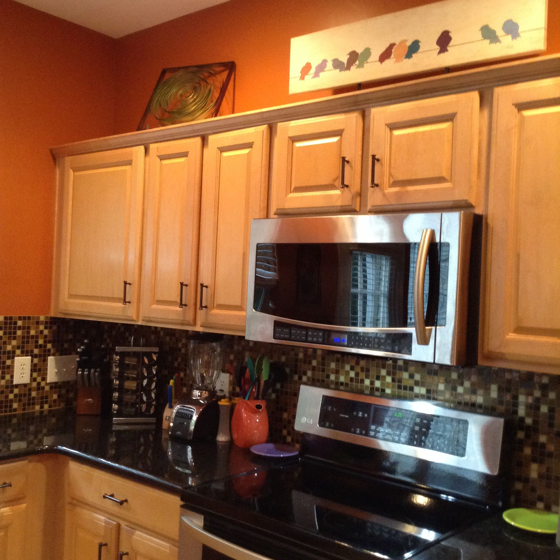 Burnt Orange Kitchen Black Granite Countertops Fiestaware Walls