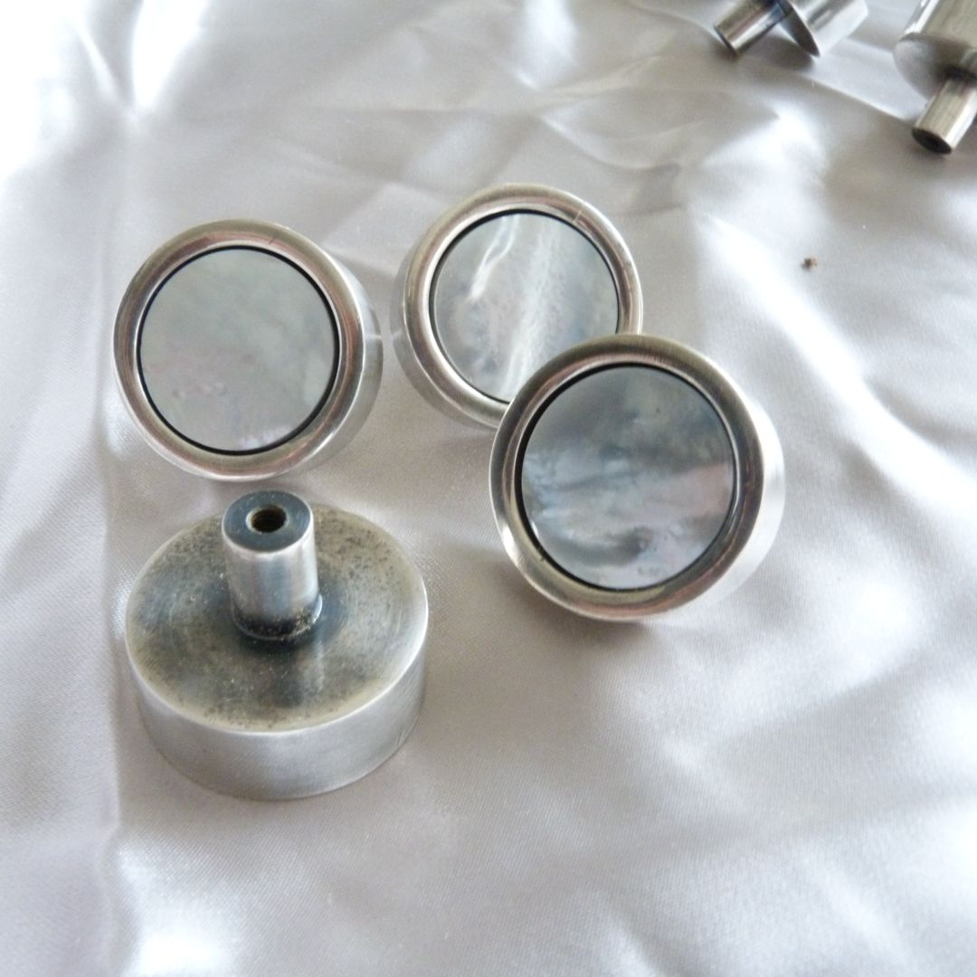 Cabinet handle in tarnished silver finish with Mother of Pearl insert. Made to order.
