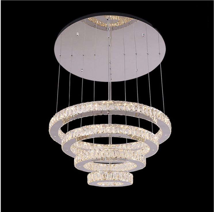 Modern Stainless Steel With Mirror Finish Ceiling Lamp Crystal Led Big Crystal Chandelier Lustre Led Light Luxury