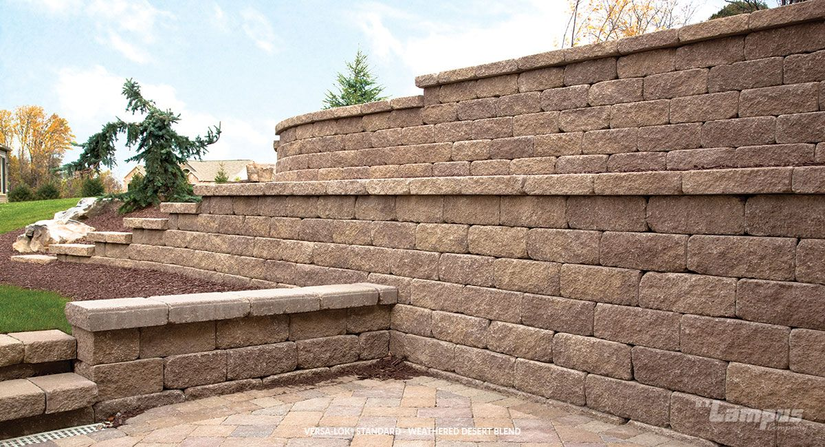 Versa Lok Standard Weathered Desert Blend Natural Stone Retaining Wall Available At Landsca Retaining Wall Natural Stone Retaining Wall Stone Retaining Wall