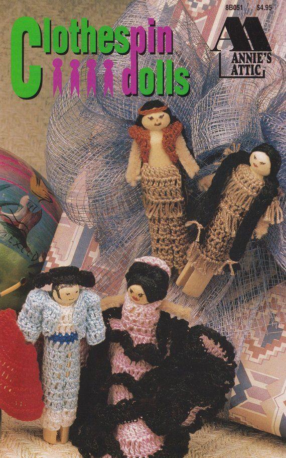Clothespin Dolls, Annie's Attic Crochet Pattern Booklet 8B051 Japanese Hawaiian Spanish Dolls #spanishdolls