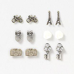 Travel Icons Stud Earrings Set of 6