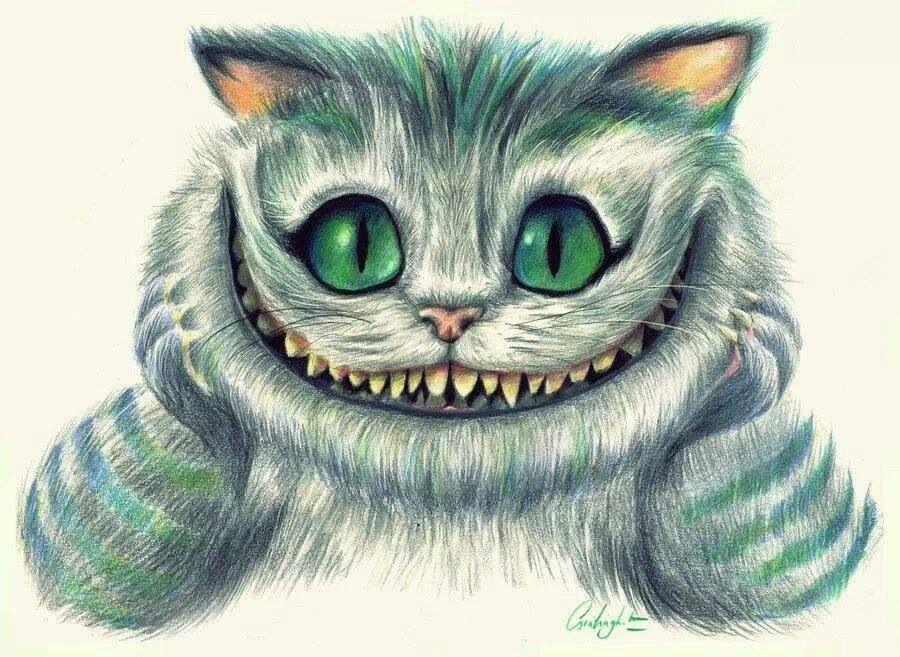 Картинки для срисовки чеширский кот и алиса