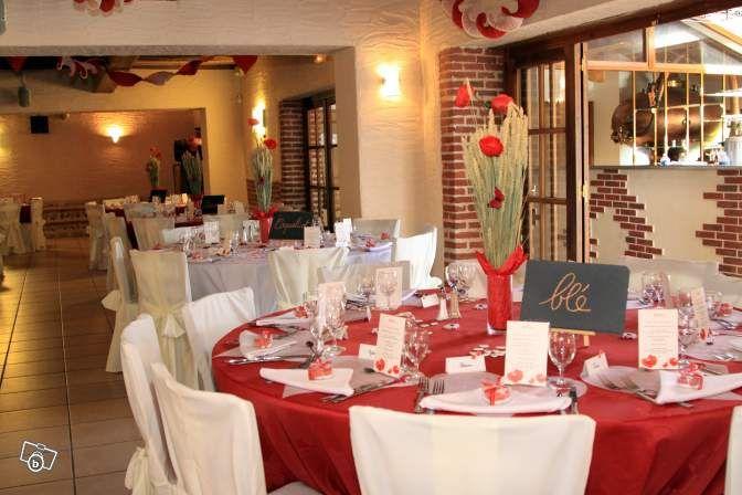 D co mariage champ tre et coeur rouge et blanc d coration - Decoration coeur rouge ...