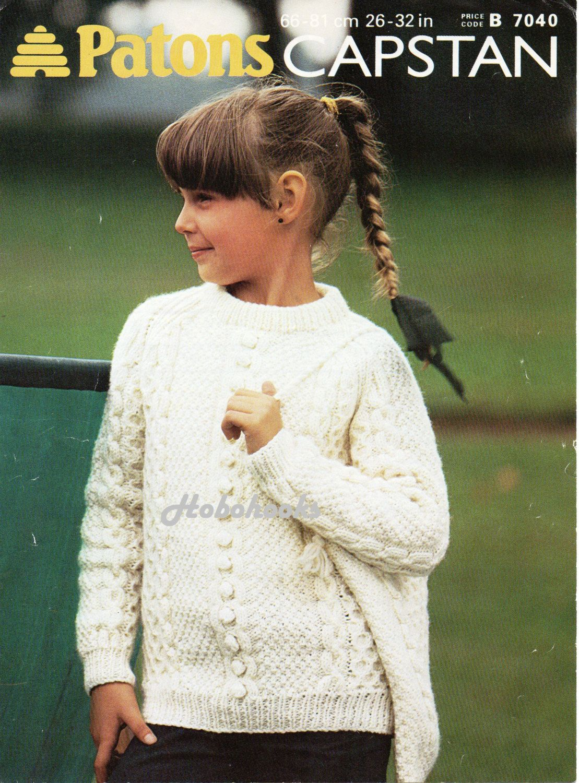 2cc3cde18 Childrens aran sweater knitting pattern shoulder bag crew neck aran jumper  pattern childrens knitting pattern 26-32inch pdf instant download by  Minihobo on ...