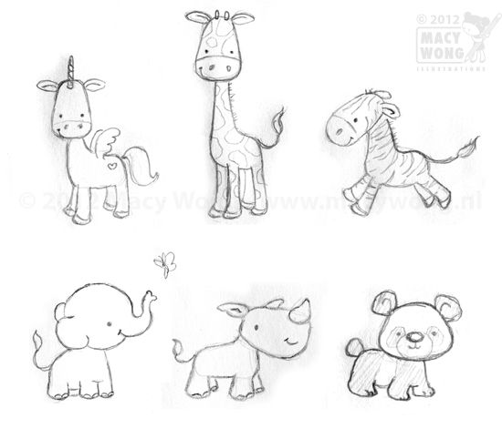 Line Drawings Of Cute Animals : Baby animal illustrations google search cute