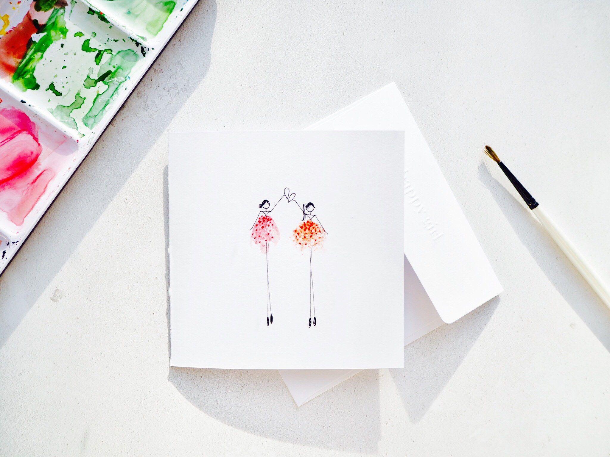 Handmade Illustrated Sisters Birthday Card Happy Girl Card Best