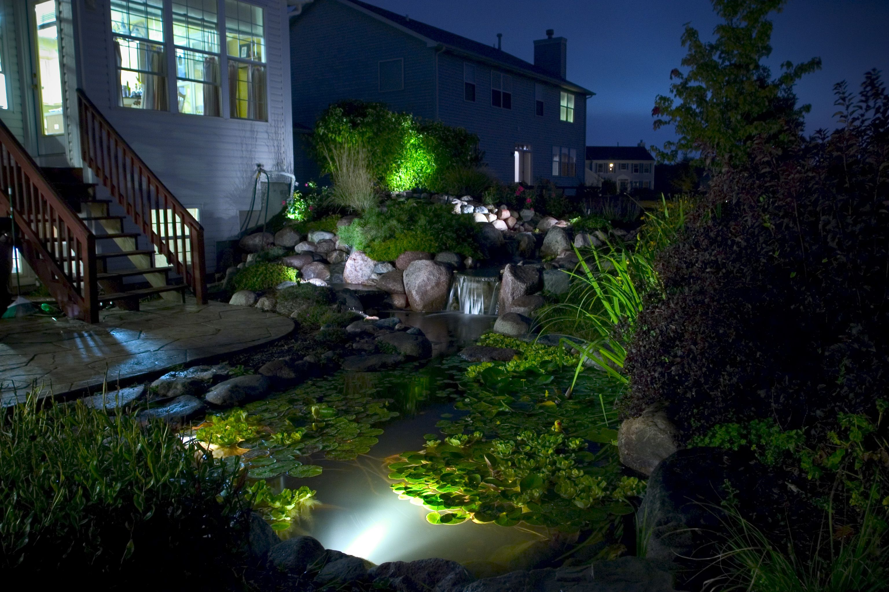 Aquascapes Pond Lighting | Pond fountains, Pond lights ...