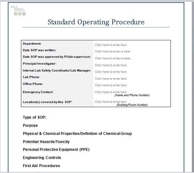 Standard Operating Process Format Standard Operating Procedure