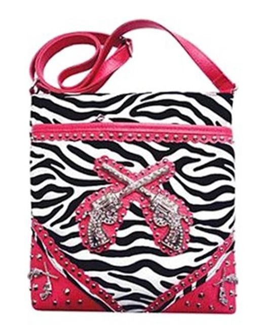 Zebra Print Western Revolvers Gun Messenger Bag - Hot Pink