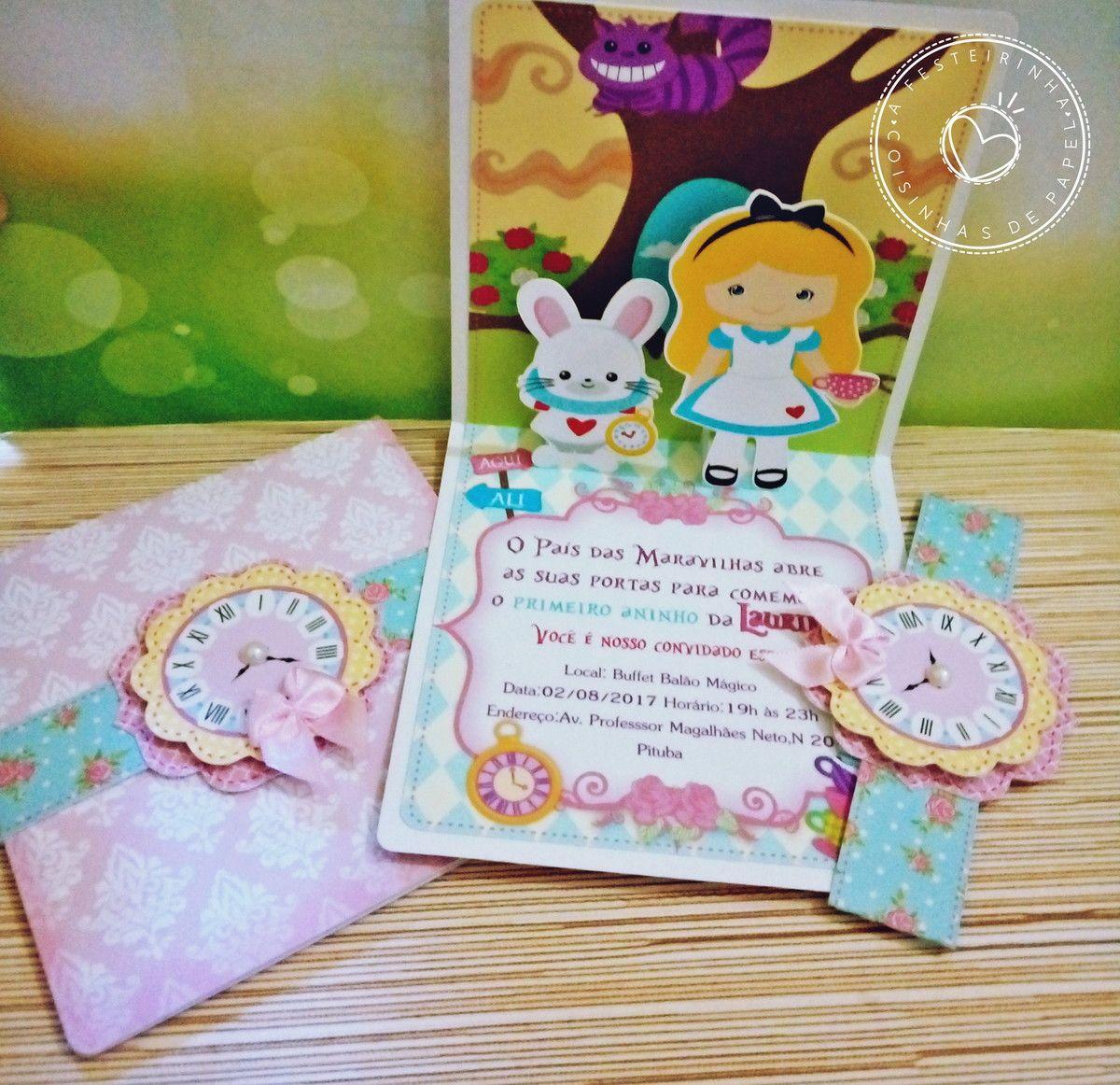 Convite Alice No Pais Das Maravilhas Com Imagens Alice No Pais