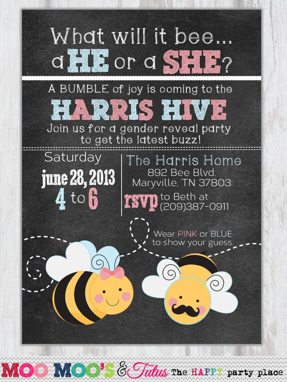 Bee Gender Reveal Invitation - WHAT WILL BEE Design - Gender Reveal