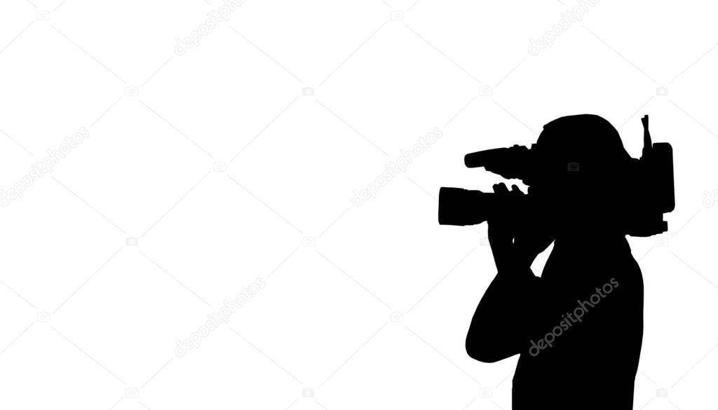 Silhouette Cameraman Filming Stock Photo Spon Cameraman Silhouette Filming Photo Ad
