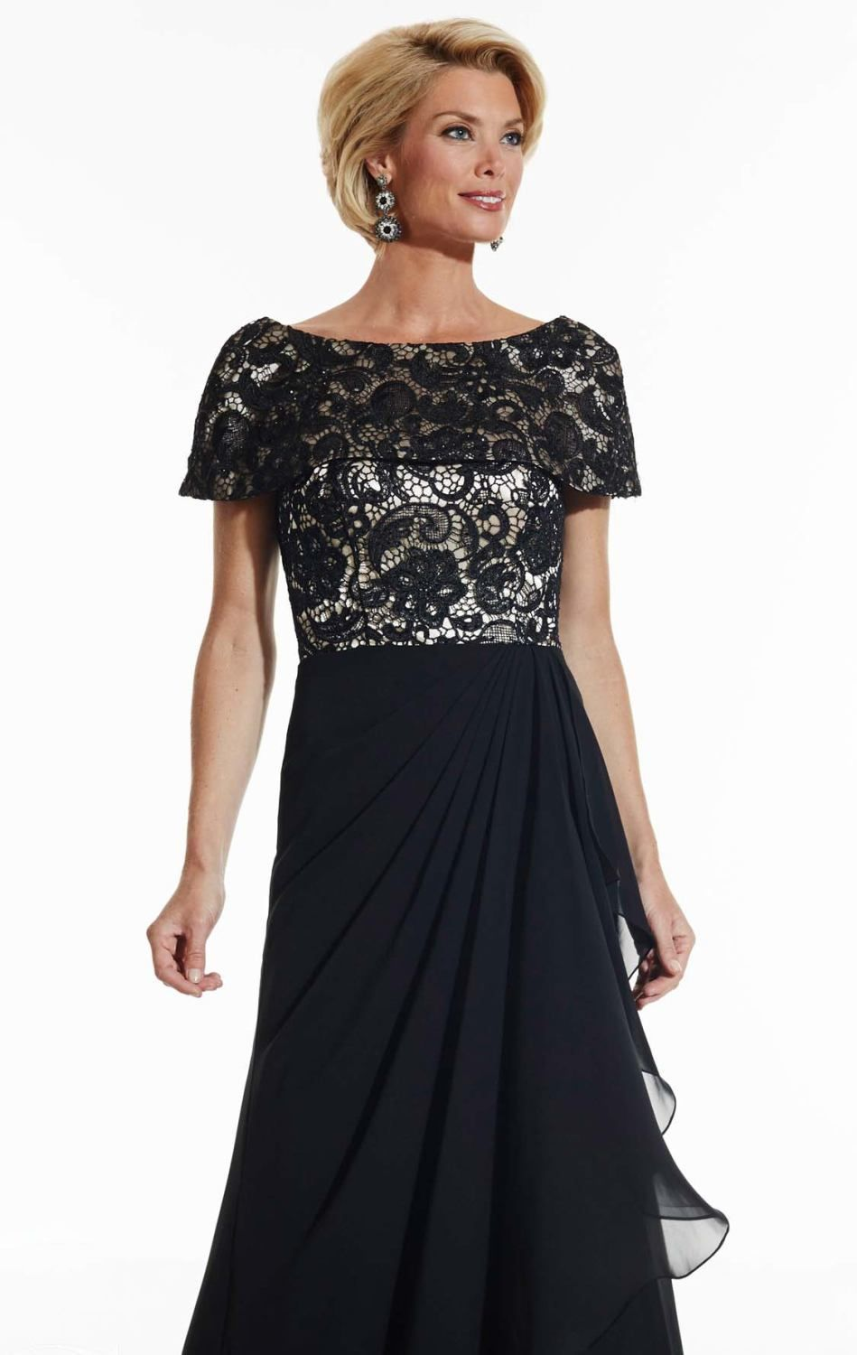 Short cap sleeve lace long mother of the bride dresses for Plus size summer wedding dresses