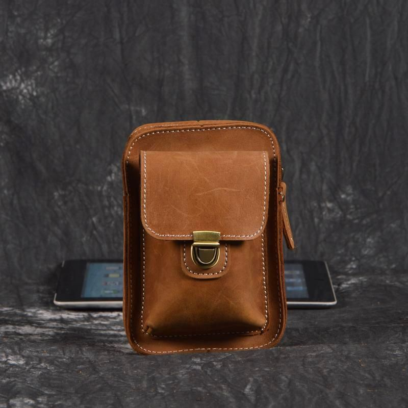 06efa3f3b171 Overview: Design: Handmade Leather Mens Small Waist Bag Cigarette Cases Hip  Pack Belt Bag Fanny Pack Bumbag for MenIn Stock: Ready to Ship (2-4 ...