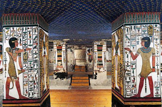 Tombe de nefertari vall e des reines chambre fun raire plafond toil pour les cours - Plafond chambre etoile ...