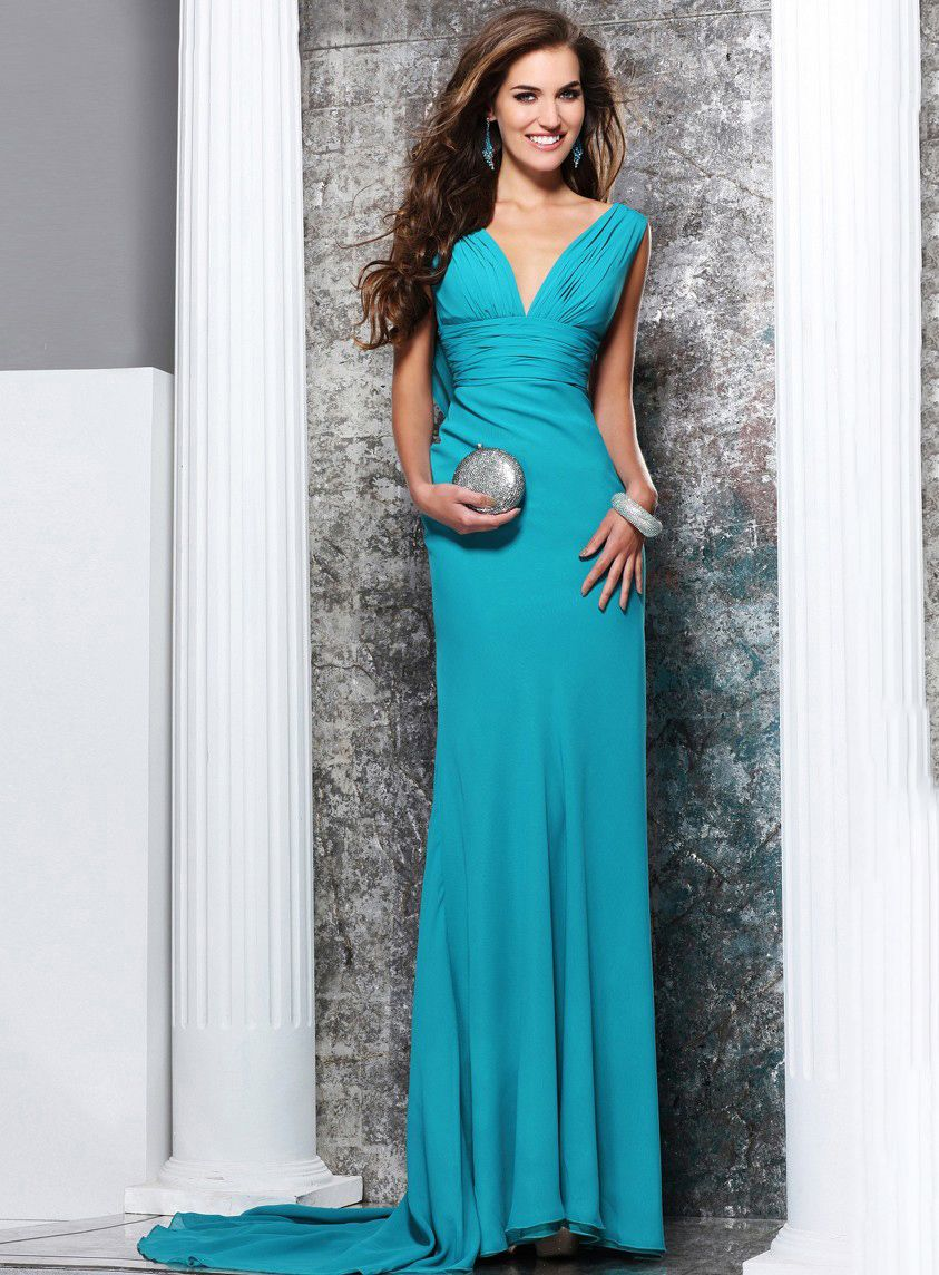 bridalup.com SUPPLIES Designer Sheath / Column V-neck Floor-length ...