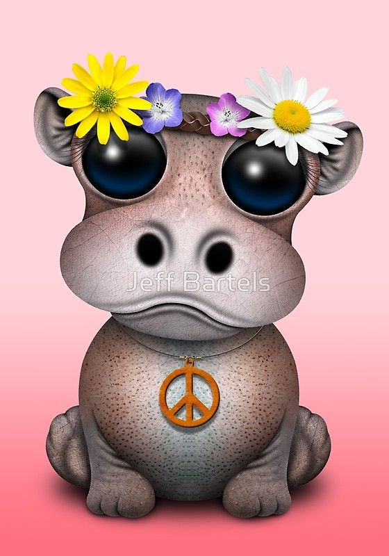 Cute Baby Hippo Hippie on Pink | Art Print #babyhippo