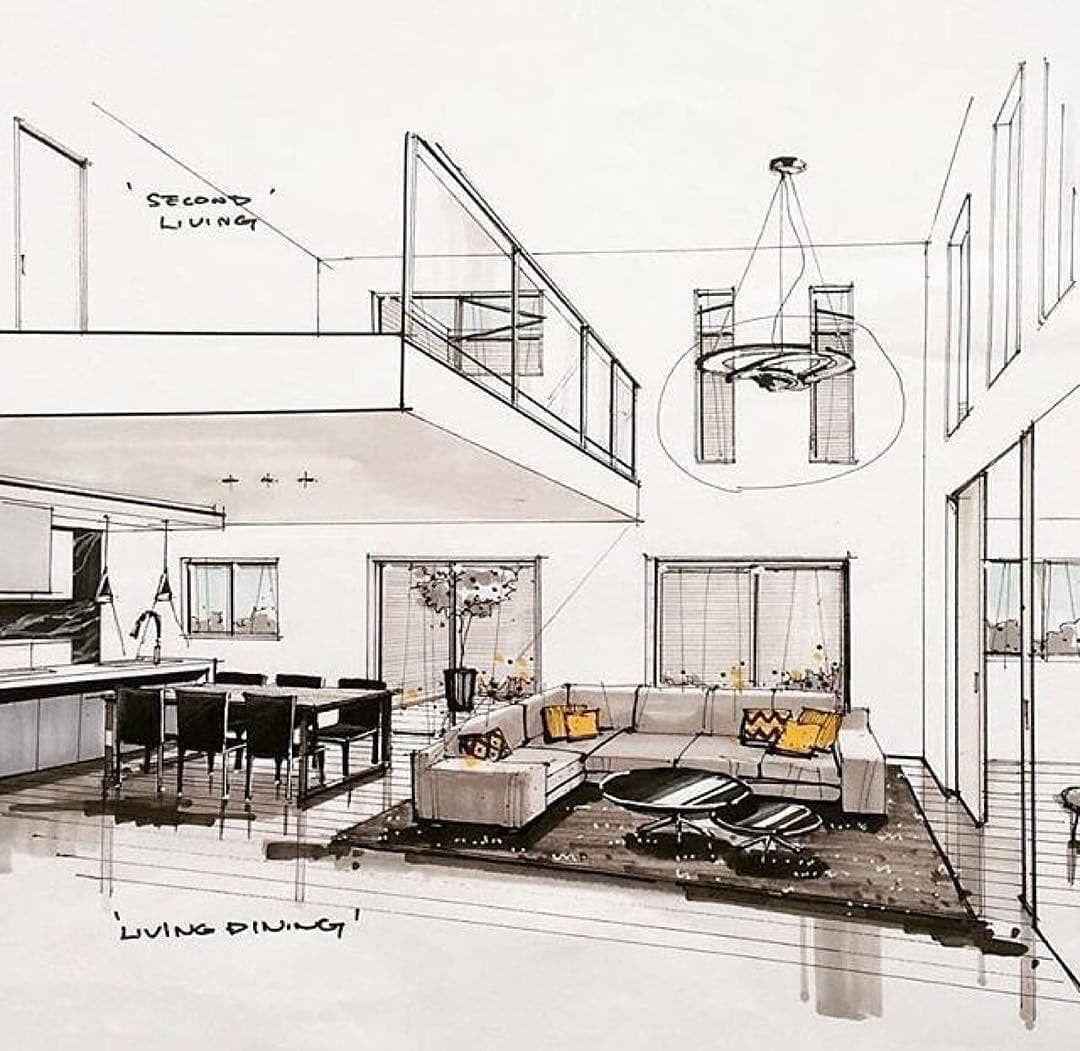 Prospettiva interna schizzo interno schizzi d for Interni architettura
