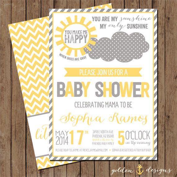 You Are My Sunshine Baby Shower Invite Digital File Printable on