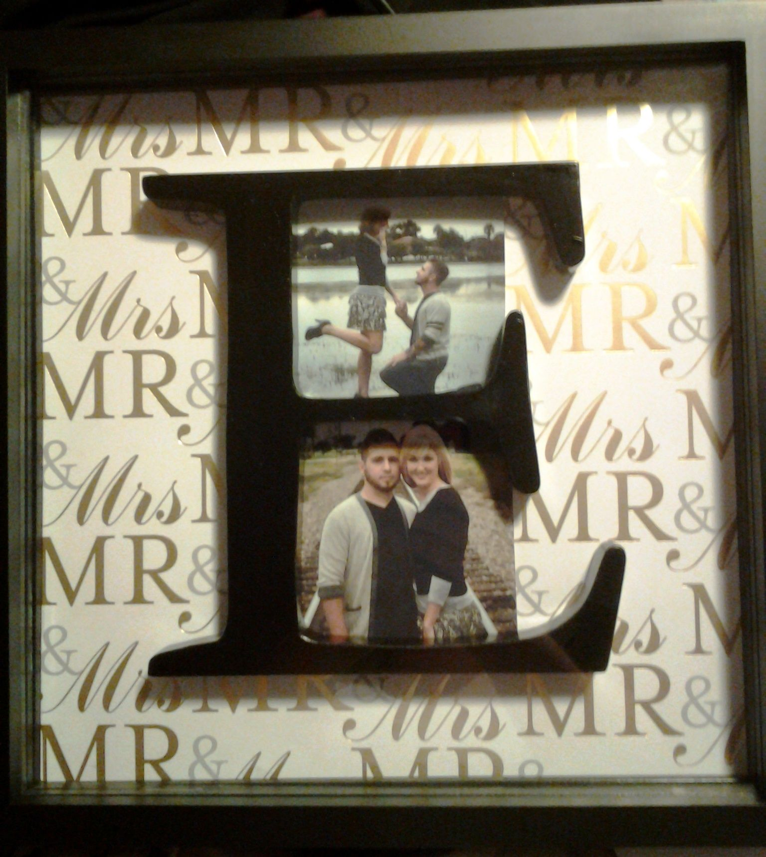 Wedding gift, frame of their engagement photos :)