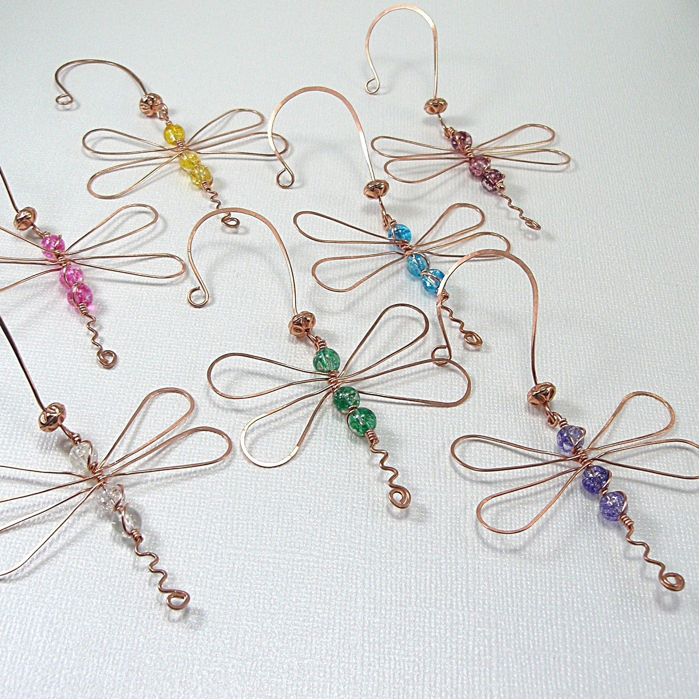 Dragonfly ornament copper green glass wire wrapped sun catcher ...