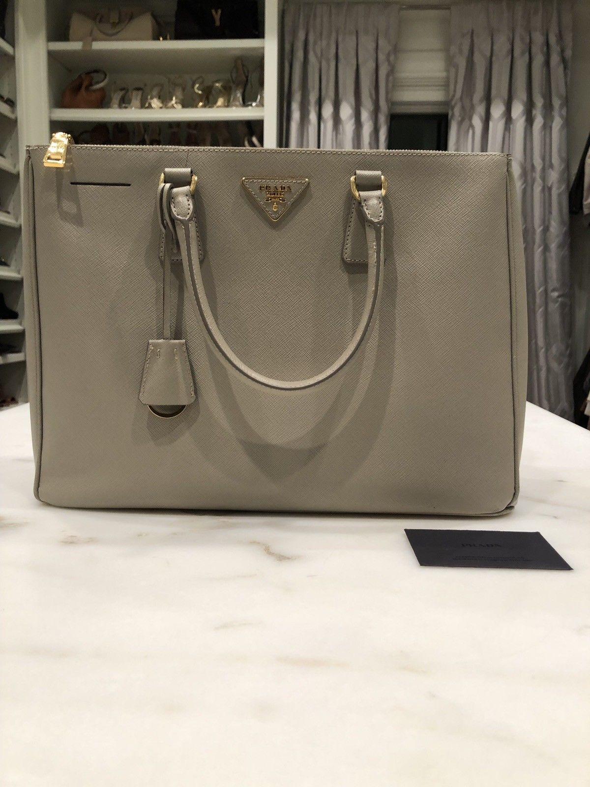 4d35ce3f0576 Authentic PRADA Argilla Saffiano Lux Leather Tote Shoulder Hand Bag Grey  Gray  356.0