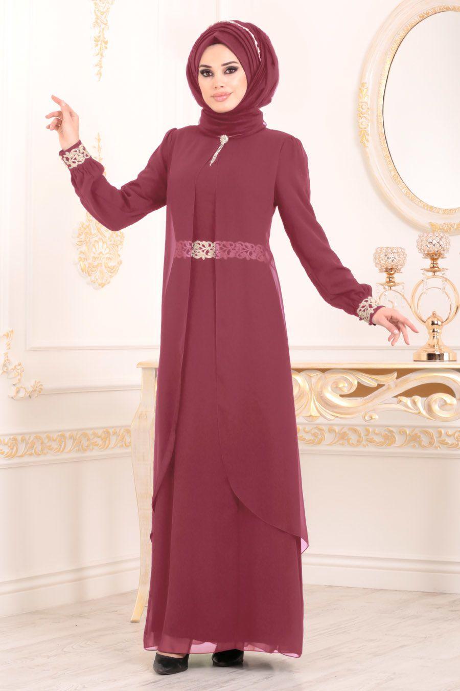 b298a83cb0296 Nayla Collection - Dantel Detaylı Tüllü Gül Kurusu Tesettür Abiye Elbise  95843GK