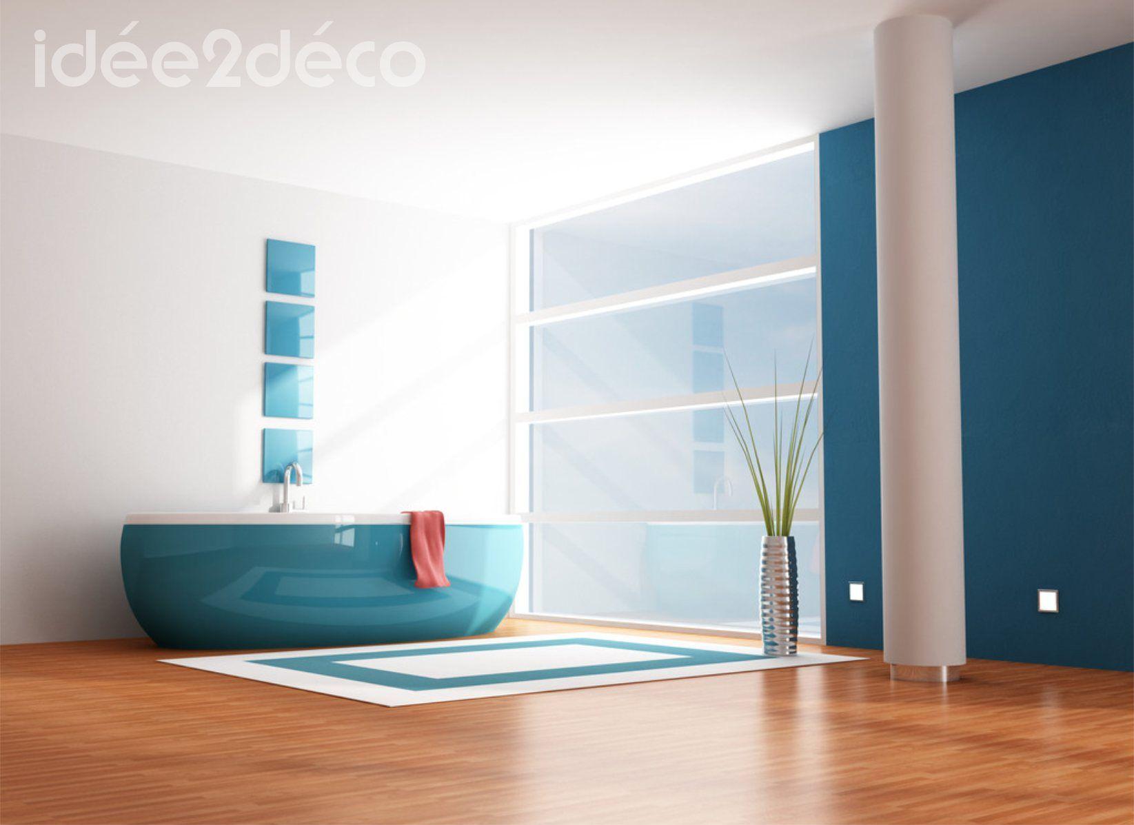 Design de salle de bain bleue canard | Salle de bain ...