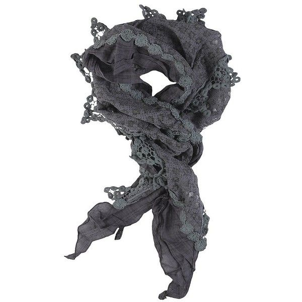 Hailey Jeans Lace Scarf Grey ($15) ❤ liked on Polyvore