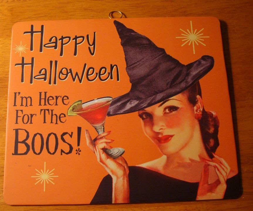 here for the boos vintage retro style halloween pin up girl witch bar sign decor collectibles holiday seasonal halloween ebay - Halloween Decorations Ebay