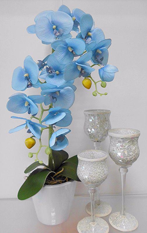 P 42 Niebieski Storczyk Kwiat Kwiaty Sztuczny 55zl 5585201851 Oficjalne Archiwum Allegro Glass Vase Vase Decor