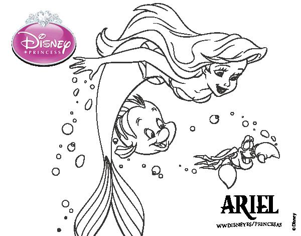 Princesas Disney Más Dibujos Para Colorear De Jasmine: Ariel, Flounder Y Sebastián Para