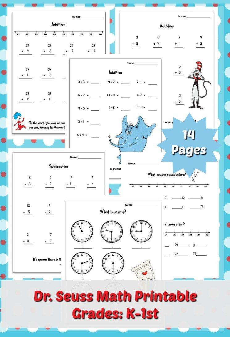Free Dr Seuss Printable Math Pack For Grades K 1st Dr Seuss Math Dr Seuss Math Activities Dr Seuss Math Kindergarten