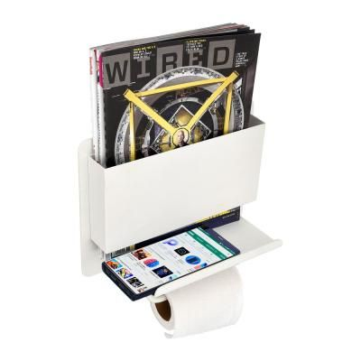 AdirHome all-in-one toilet paper holder is the perfect accessory for your restroom. It contains a shelf to put your items on. Also featuring a reading material holder to place magazines in. This bathroom rack can be utilized for a tissue paper roll dispenser, magazine organizer and/or a safe place to put your phone. Made of durable steel for long lasting decor and usability in your home. AdirHome bathroom rack mounts to any wall in the building for convenient placement. The restroom toilet paper