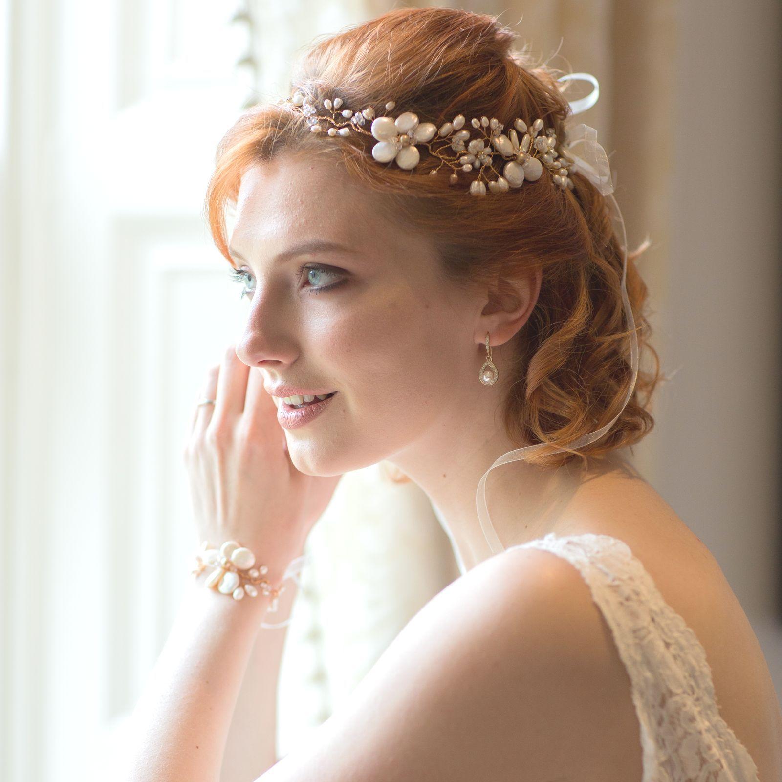 bridal hair vine stardust is a delicately interwoven hair vine