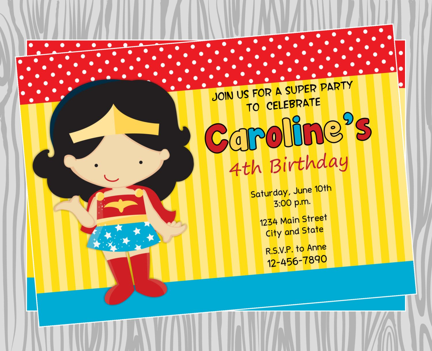 DIY - Girl Wonder woman Superhero Birthday Party Invitation 1 ...