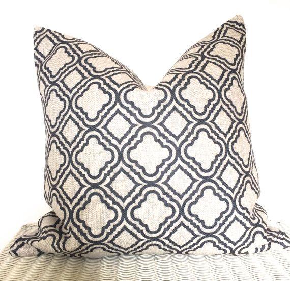 Dark Grey Cushion Skandi Cushion Morcoccan Print Cushion