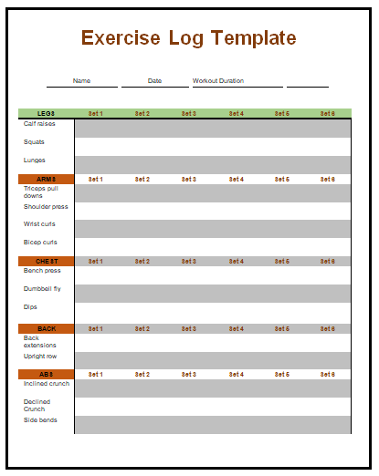 exercise log template my work pinterest template and logs