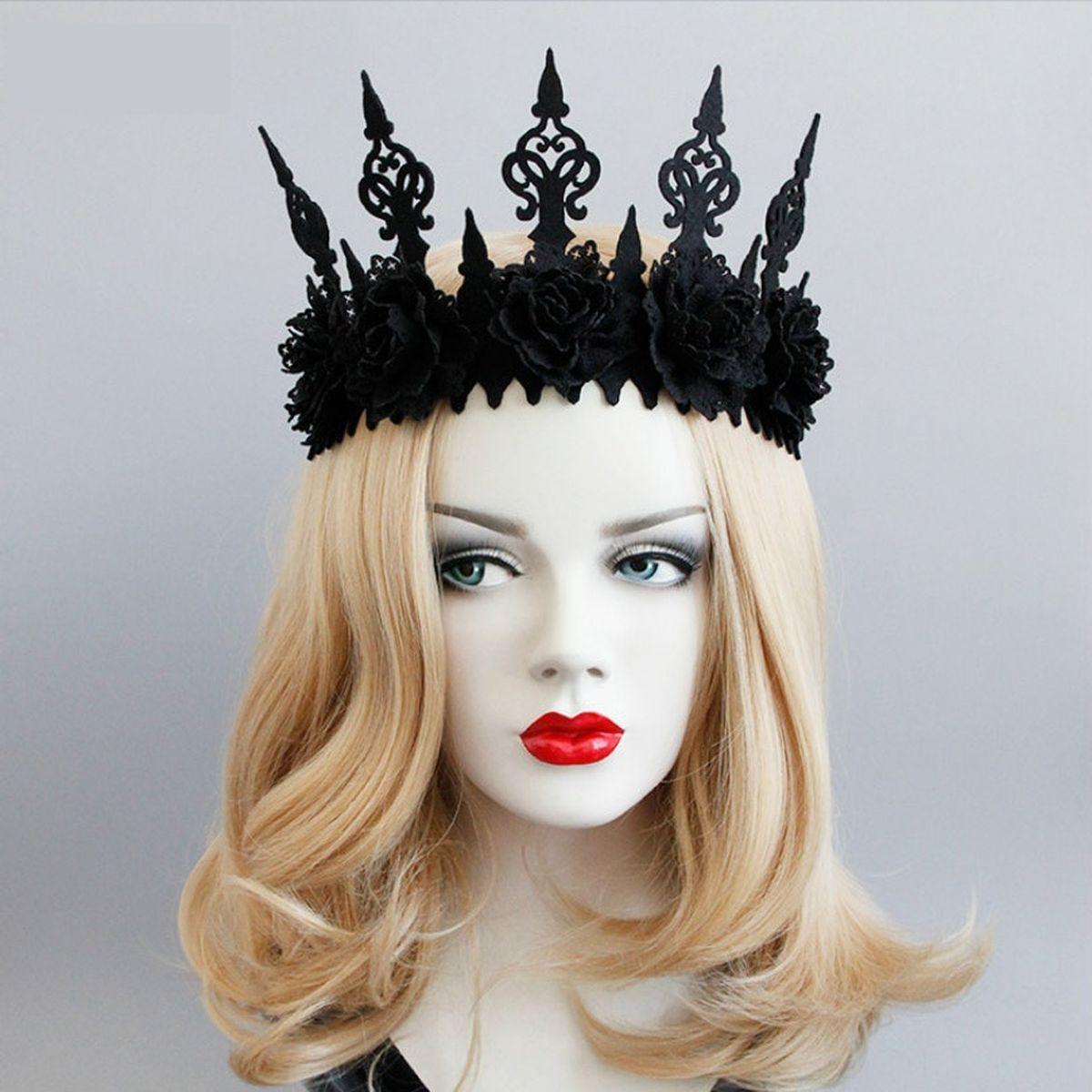 Neo Gothic Black Crown Tiara Headbands Halloween Cosplay Queen King Masquerade Festival Headband Headband Hairstyles Halloween Women