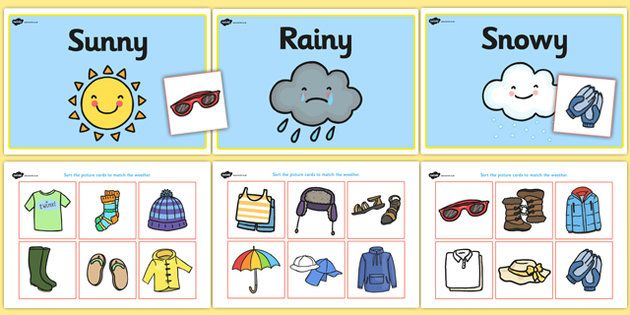 Weather Clothes Sorting Activity Teaching Pinterest Pracovni