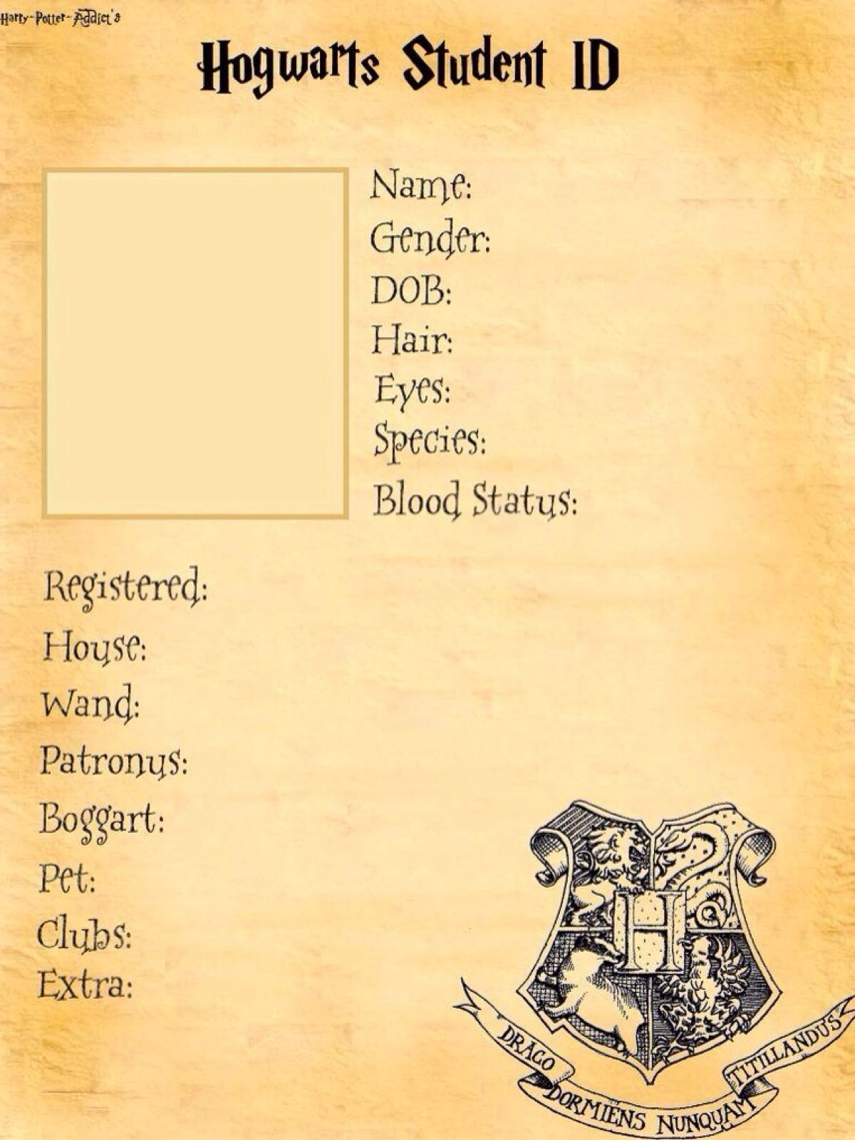 Hogwarts student id template try and fill it in if you can