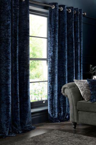 Midnight Blue Crushed Velvet Eyelet Curtains In 2019