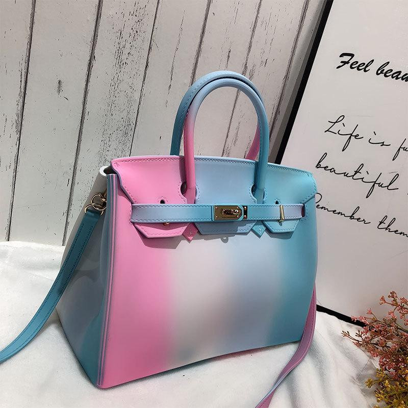 pink and blue jelly purse pvc clear bag satchel for work wedding holographic bag rainbow bag jelly purse pinterest