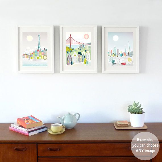 ANY 3 Small Prints (5x7   8x10   8x11.5), Choose ANY art in my shop, New York, London, Paris, Rome, Chicago, cityscape, skylines, SPPSO1  * Choose ANY