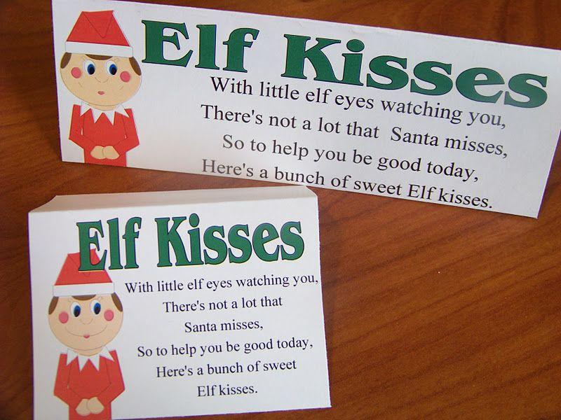 Kandy Kreations Elf Kisses Free Printable Class Christmas Gifts Christmas Elf Elf