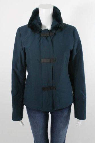 LORO PIANA Teal Fur Trim Removable Collar Zip Up Jacket Sz 40 #LoroPiana #BasicJacket