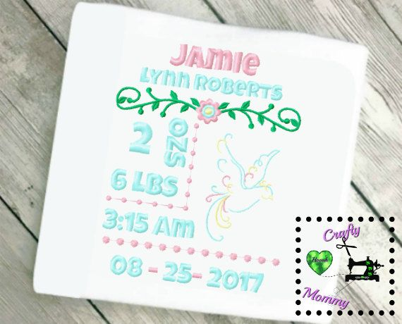 Newborn Subway Art  Birth Announcement Embroidery Design