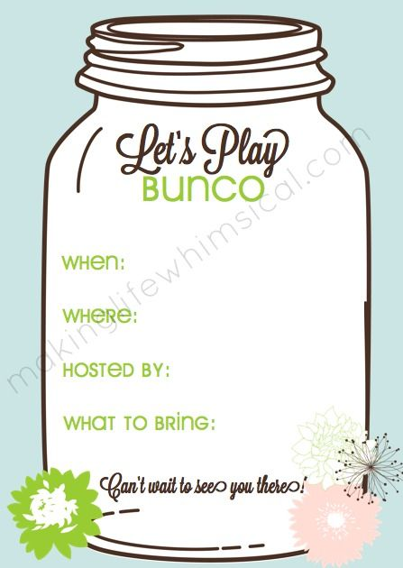 Free Printable Bunco Set With Invitation Great Way To Have A Girl S